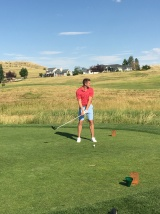 Former Denver Bronco, now Cleveland Browns Punter Britton Colquit tees it up in the 2nd annual Tony Markve Slugfest